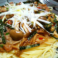 豚肉のピリ辛和風味噌パスタ